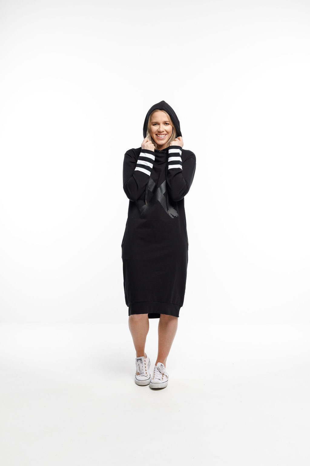 HOODED SWEATER DRESS - Black with Stripe cuffs and Black X