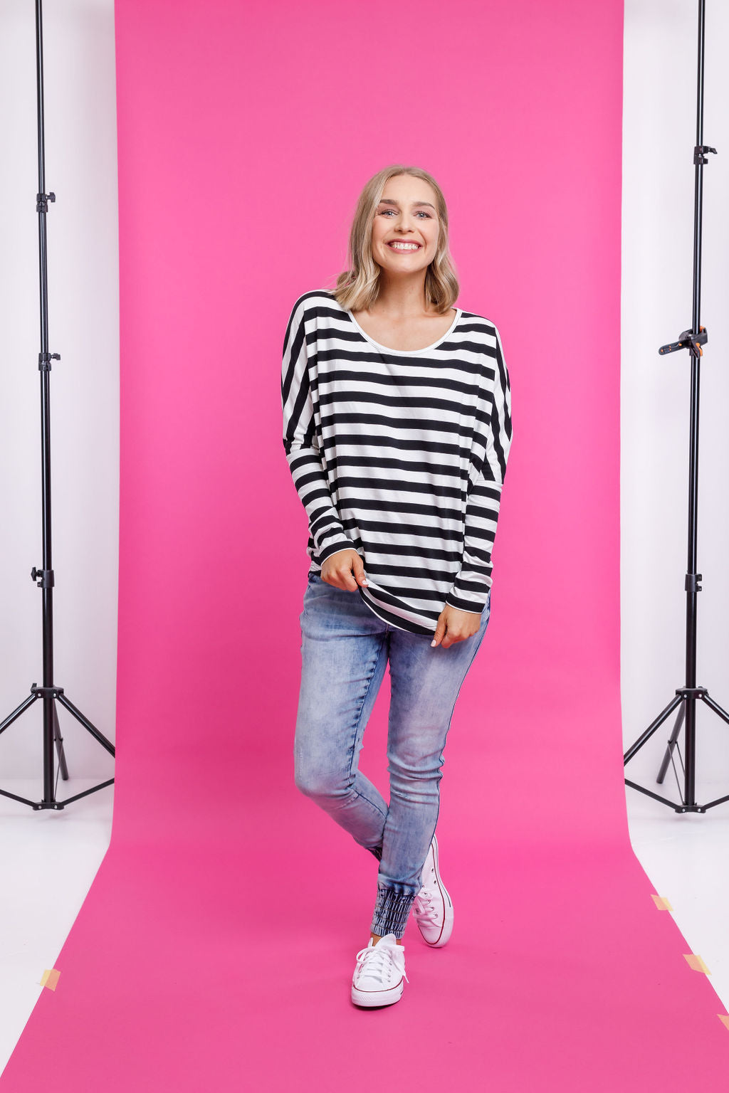 BATWING TEE - Black & White Stripes