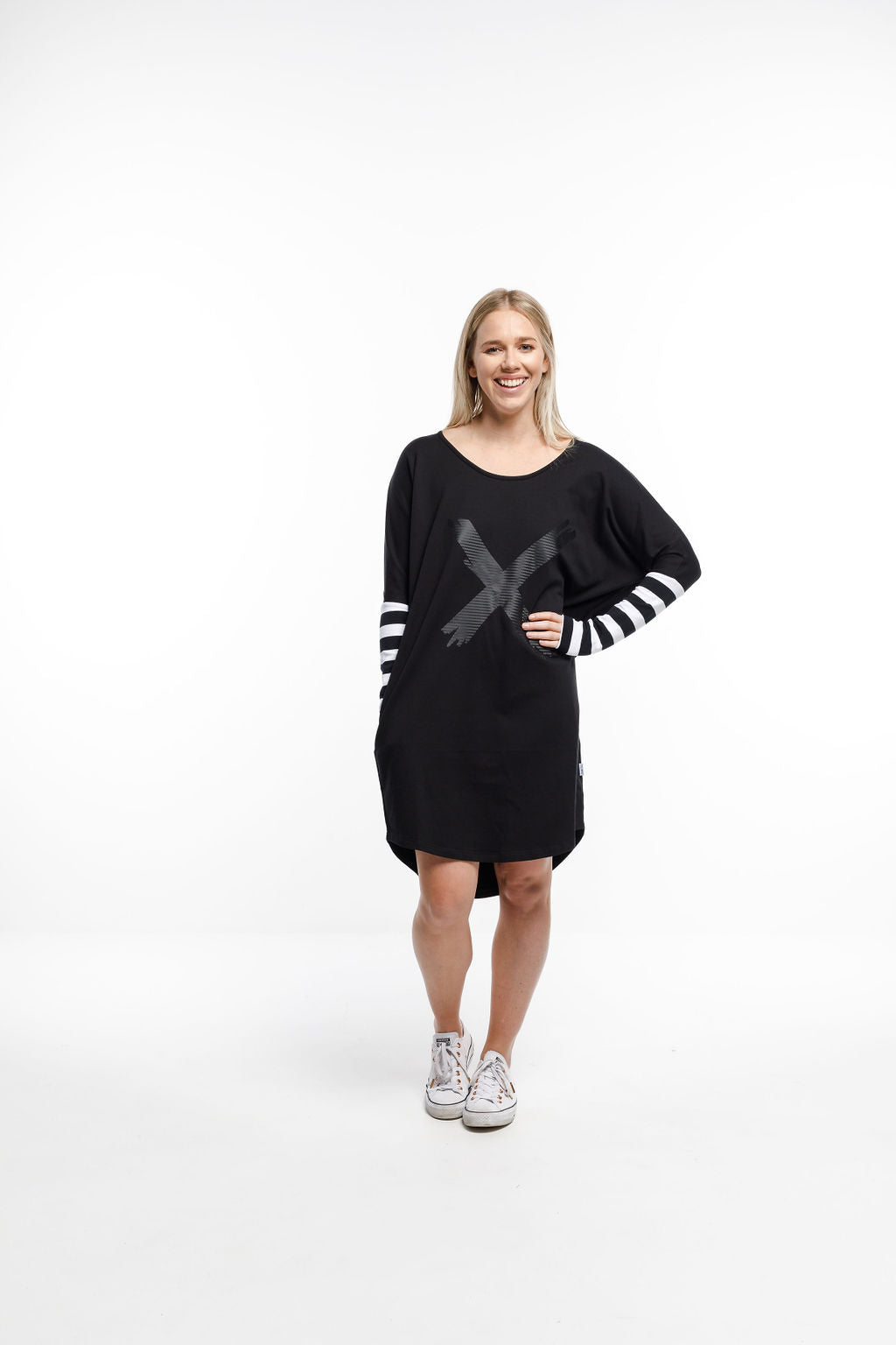 BATWING DRESS - Black with Stripes and X print