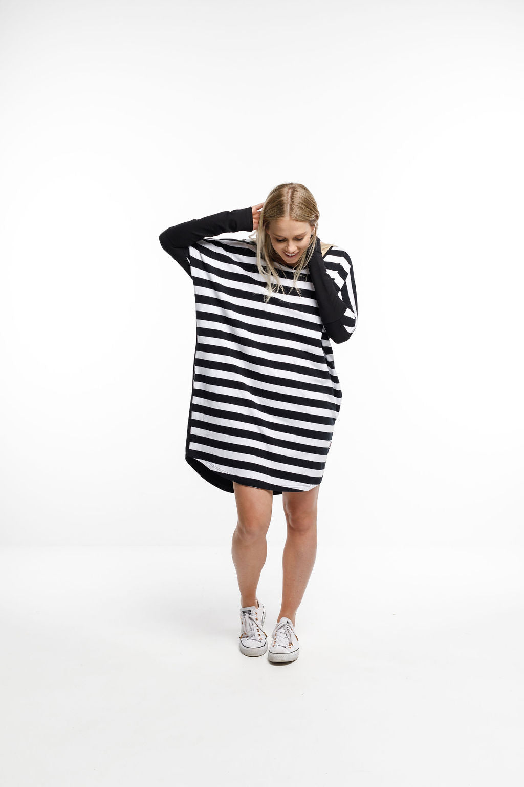 BATWING DRESS - Stripe front and Black back