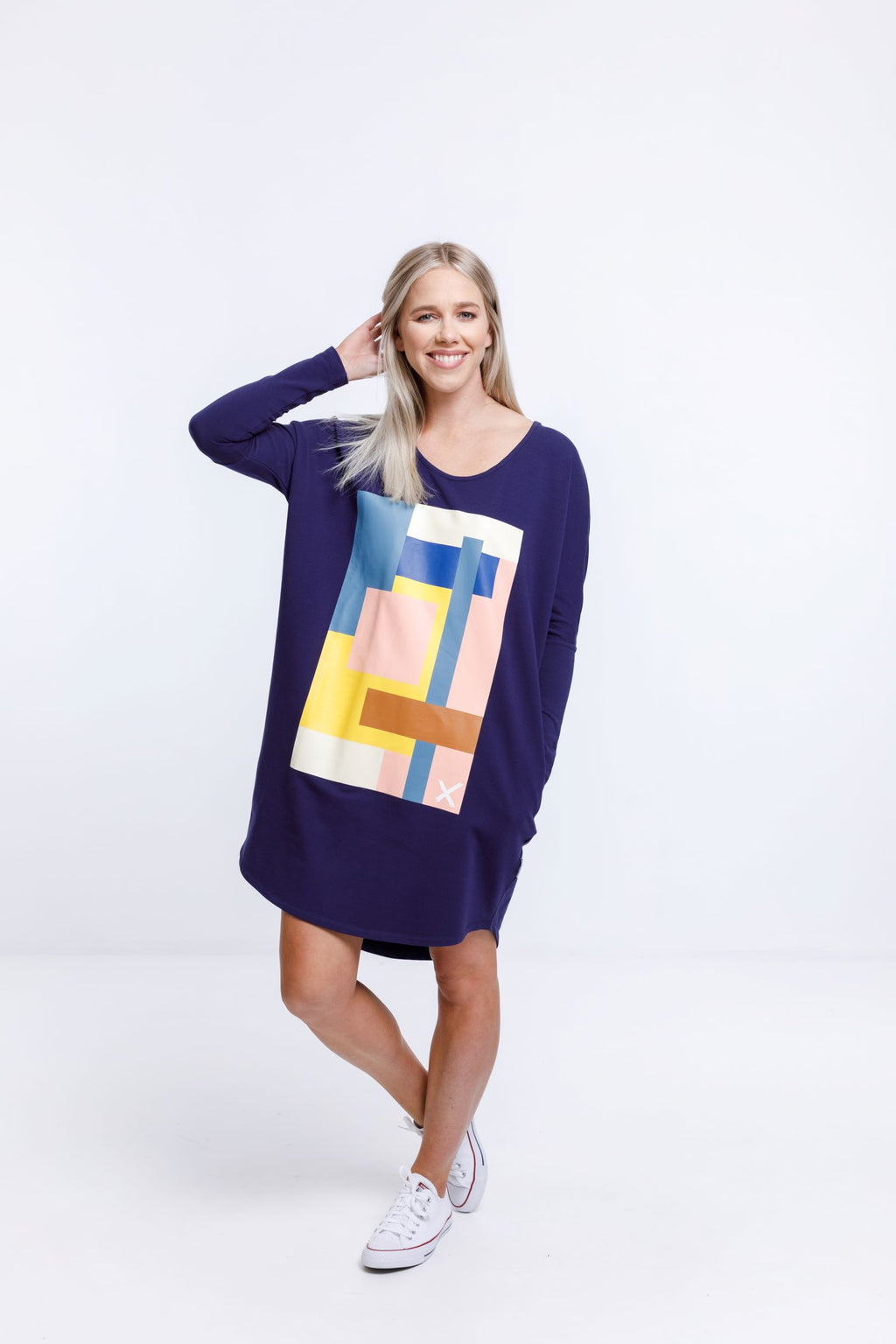 BATWING DRESS - Evening Blue with Abstract Print