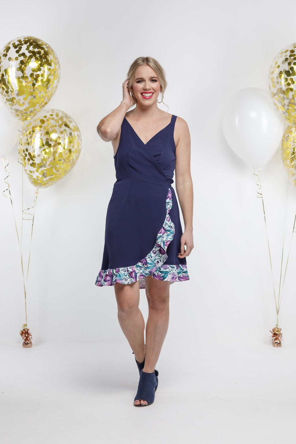 *SALE* Party - SHORTIE WRAP DRESS - Navy with Violet Fusion Frill