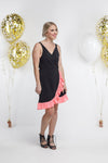 *SALE* Party - SHORTIE WRAP DRESS - Black with Neon Pink Sequin