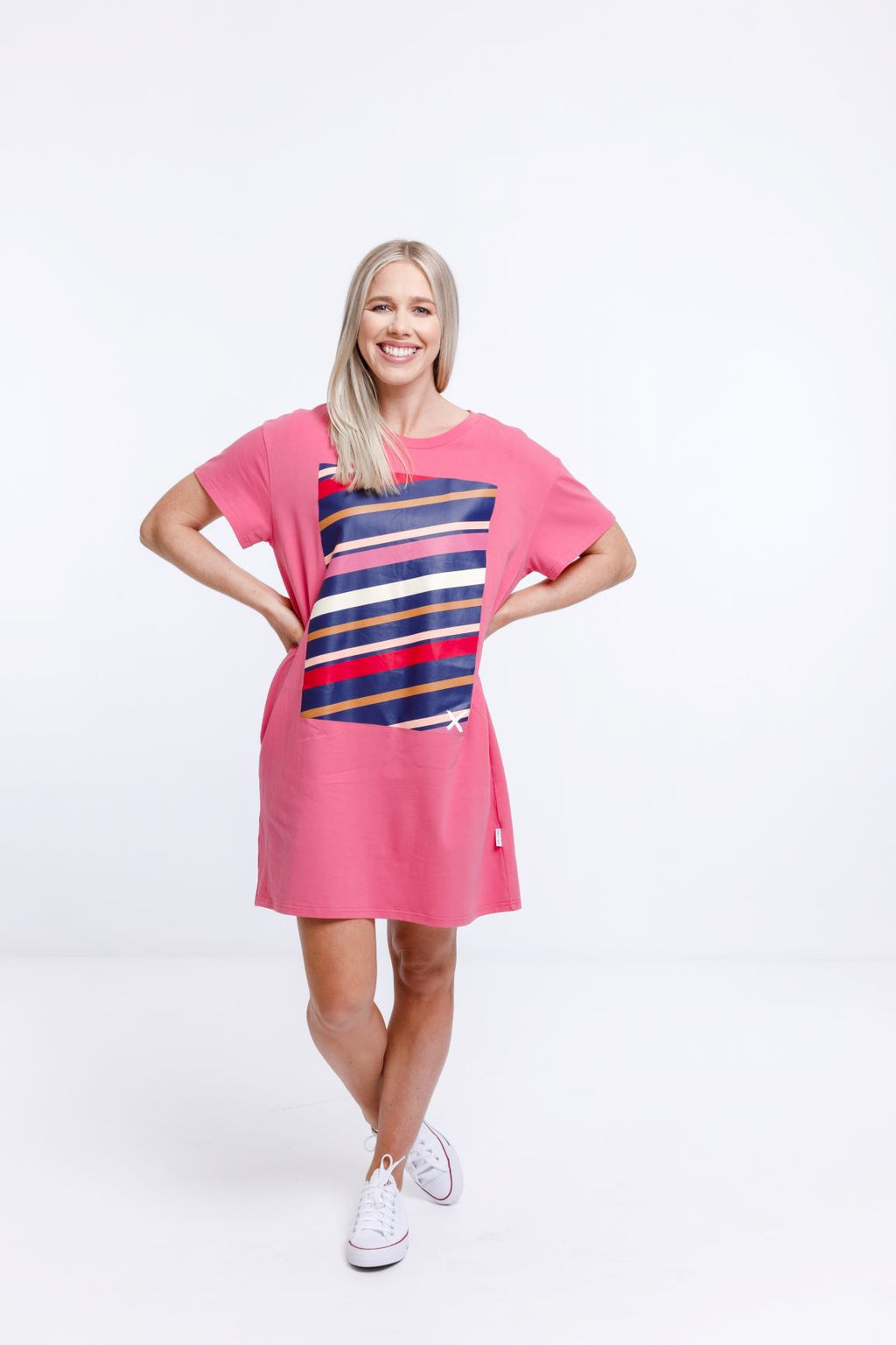 BOYFRIEND DRESS - Fruit Dove Pink with Autumn Stripe Placement Print