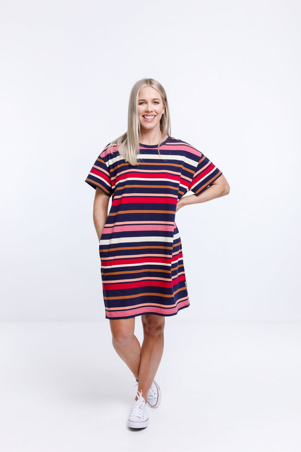 BOYFRIEND DRESS - Autumn Stripe Print