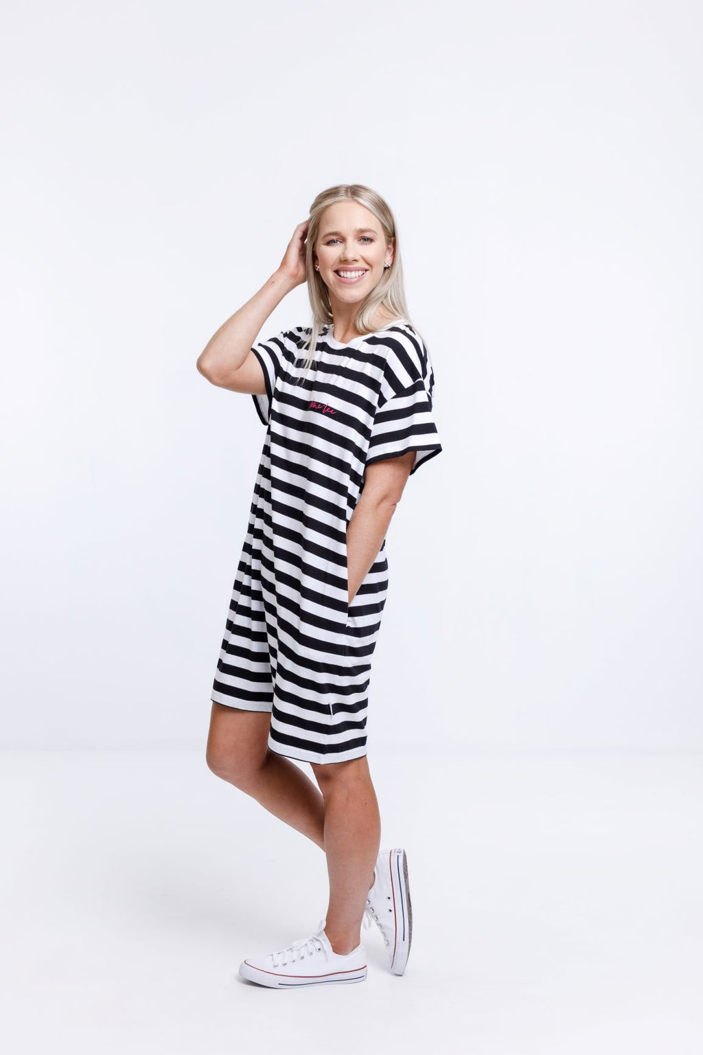 BOYFRIEND DRESS - Black & White Stripes with Pink Embroidered Logo
