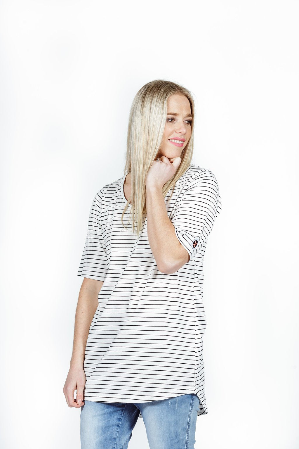 LONG TEE - White with thin black stripes