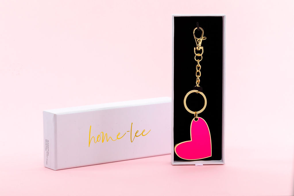 KEYRING - HEART - Neon Pink