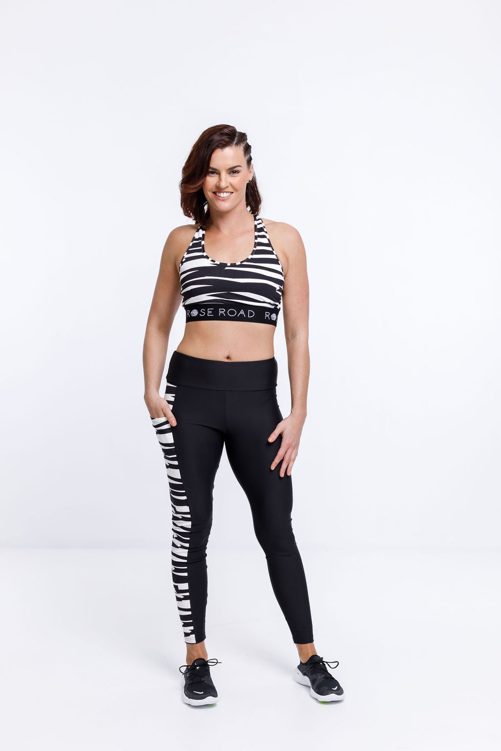 POCKET LEGGING - Black with White Offbeat Stripe