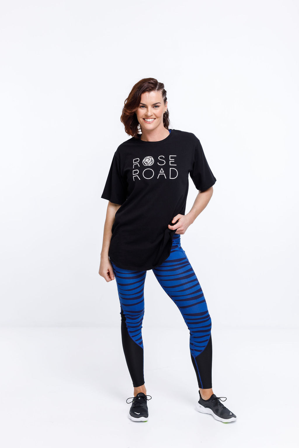 PANEL LEGGINGS - Blue Offbeat Stripe & Black Mesh