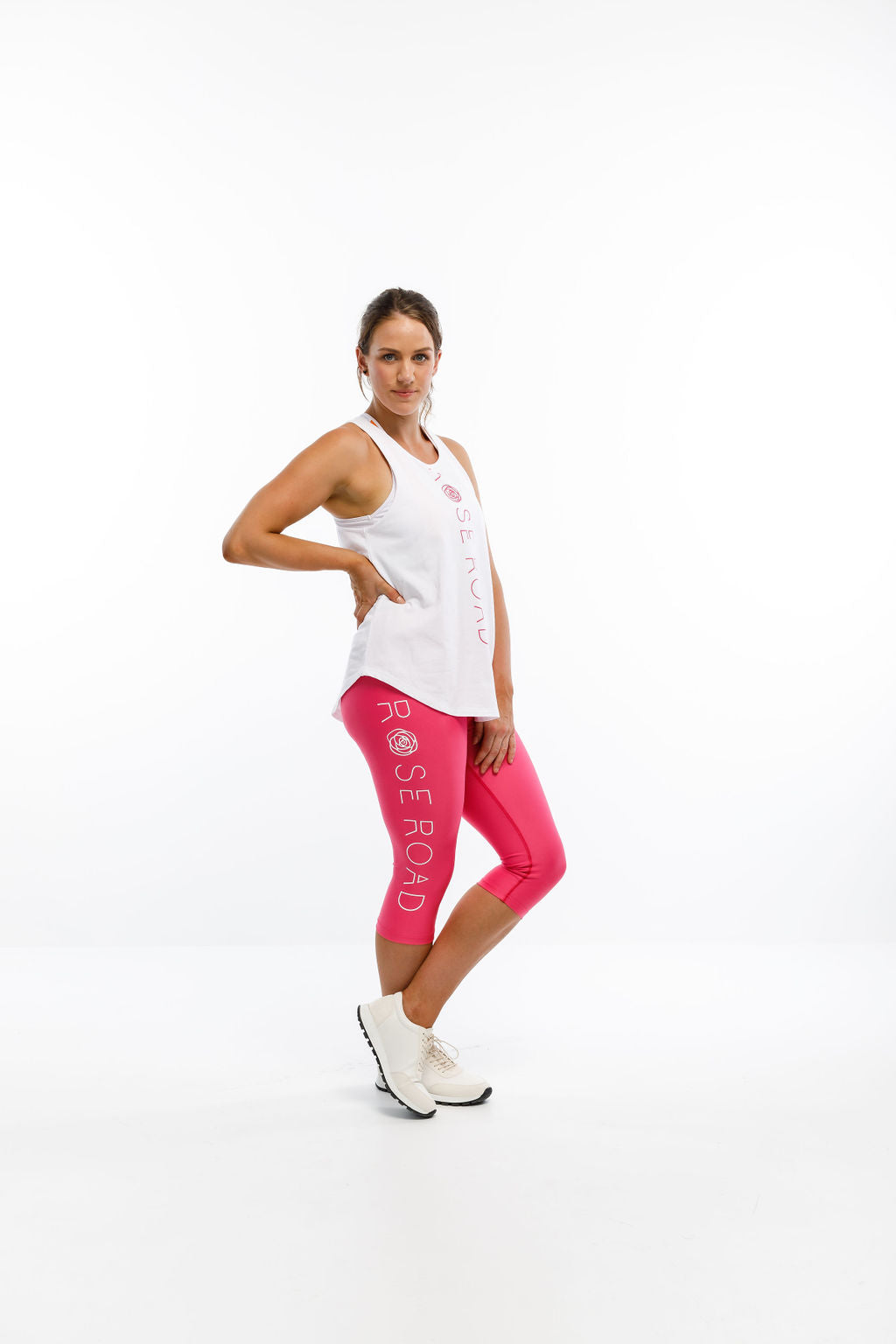 3/4 LEGGINGS - Pink with Logo