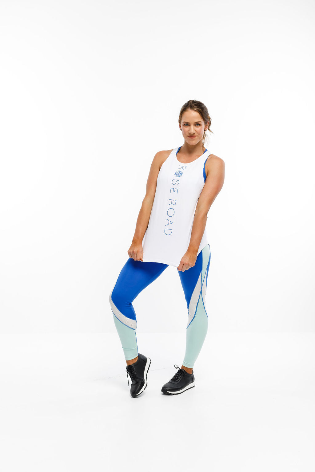 RACERBACK SINGLET - White with Blue Vertical Logo
