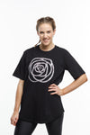 *SALE* LUXE TEE - Black with Rose in Paradise Palm Print