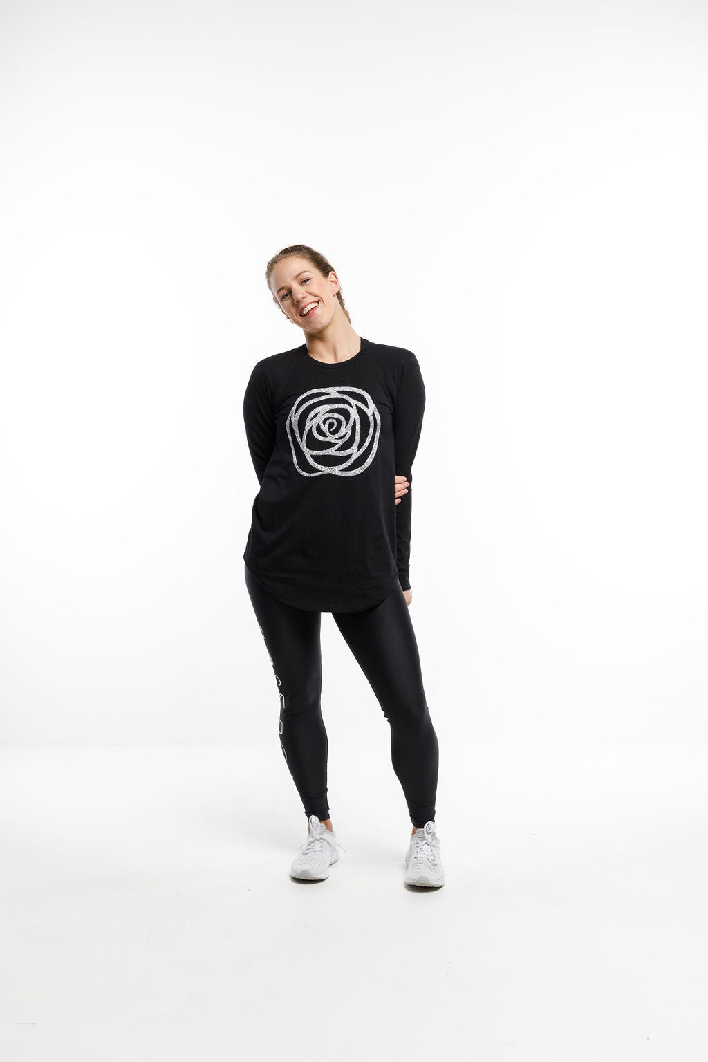 LUXE LONG SLEEVE TEE - Black with Rose Paradise Palm Print