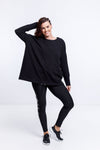 OVERSIZED CREW - Black with Black Panel Detail