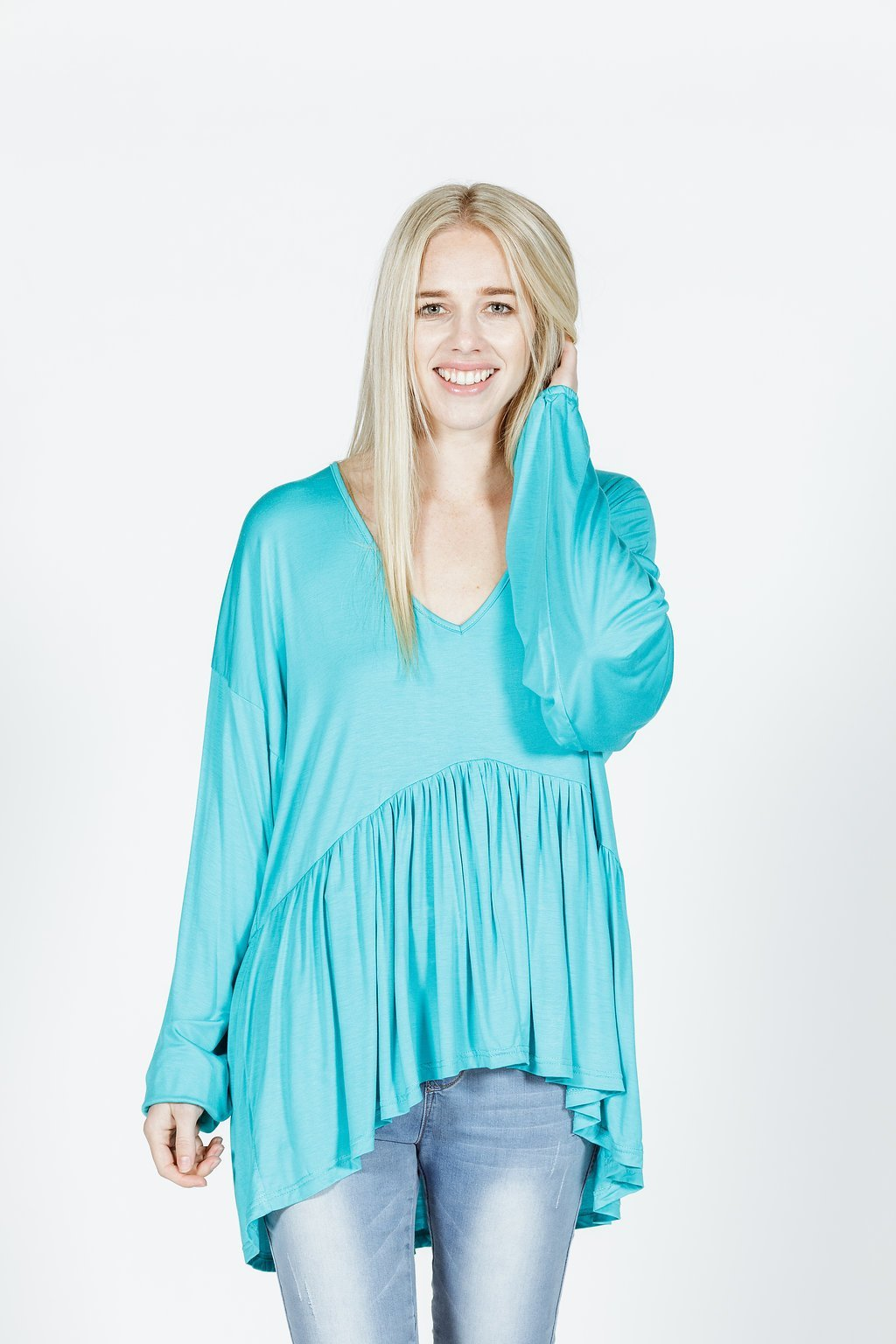 *SALE* LUCY TOP - Bamboo - Aqua Blue