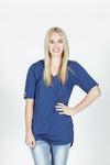 LUCKY LAST *SALE* V NECK LONG TEE - Navy