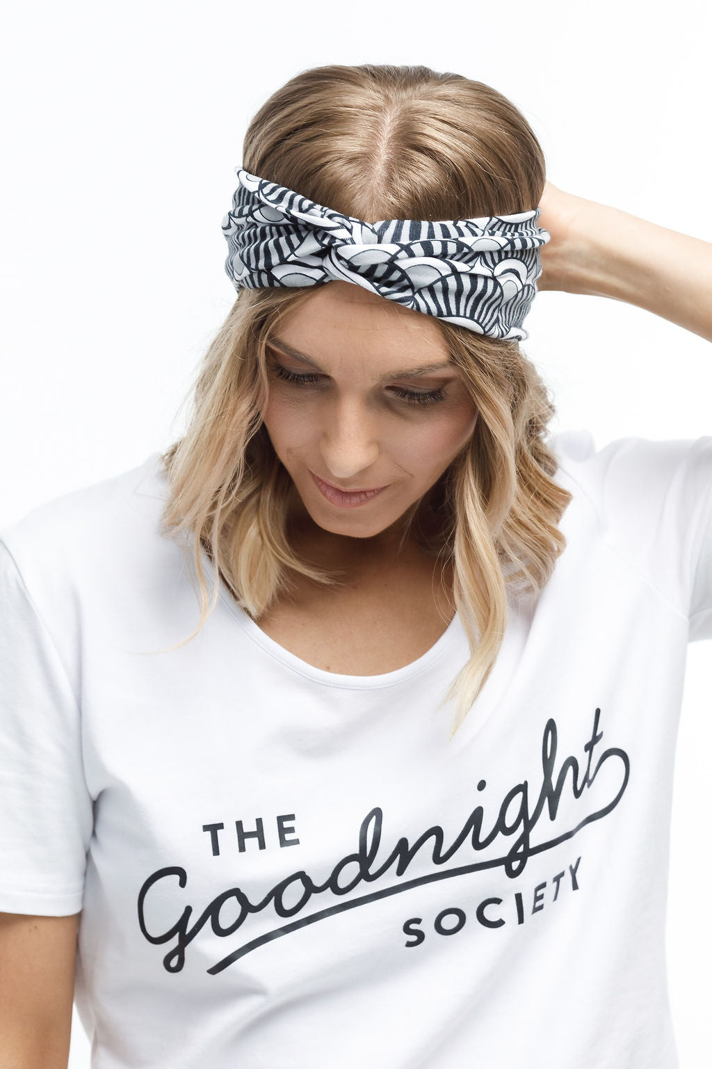 TWISTED HEADBAND - Black & White Shell Print
