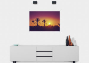 Silhouetted Palm Trees Wall Mural - Blue Lake Decor