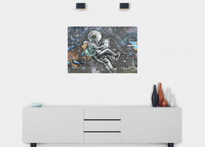 Space Junk Man Graffiti Wall Mural - Blue Lake Decor