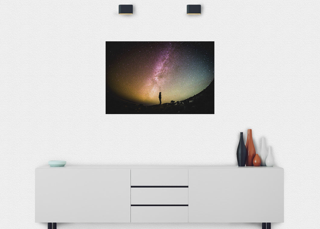 Colorful Milky Way Wall Mural - Blue Lake Decor