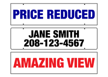 "Load image into Gallery viewer, 24"" x 6"" Aluminum Sign Rider (One Color) - Blue Lake Decor"