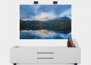 Cloudy Day On The Lake Wall Mural - Blue Lake Decor