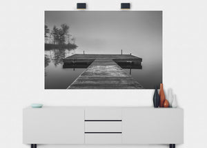 Dock On Foggy Lake Wall Mural - Blue Lake Decor