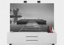 Load image into Gallery viewer, Dock On Foggy Lake Wall Mural - Blue Lake Decor