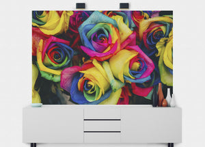 Rainbow Roses Wall Mural - Blue Lake Decor