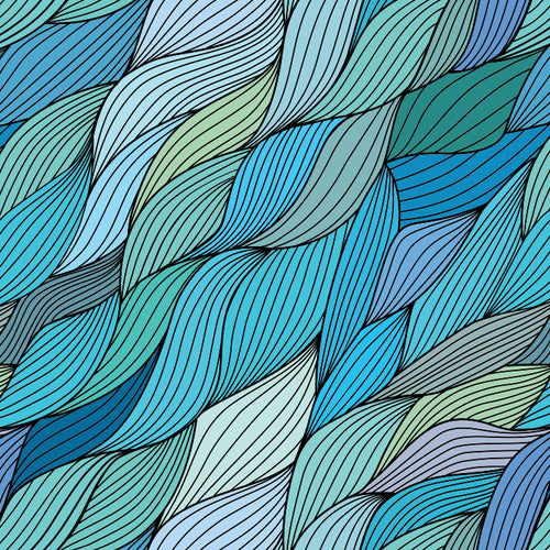 Hand Drawn Waves Wallpaper - Blue Lake Decor