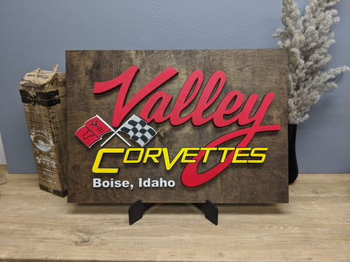 3D 'Valley Corvettes' Logo Wood Sign - Blue Lake Decor
