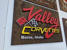 Load image into Gallery viewer, 3D 'Valley Corvettes' Logo Wood Sign - Blue Lake Decor