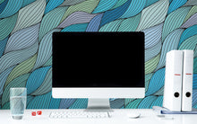 Load image into Gallery viewer, Hand Drawn Waves Wallpaper - Blue Lake Decor