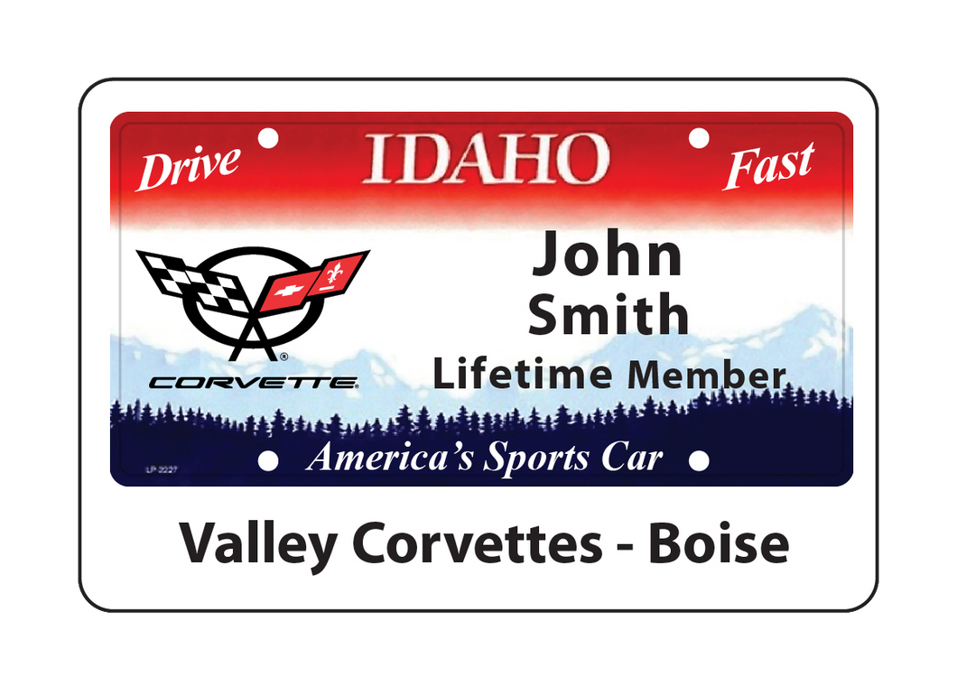 Valley Corvettes Name Tag - Blue Lake Decor