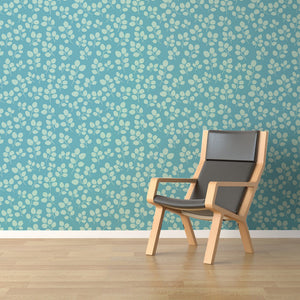 Bumpy Leaves Wallpaper - Blue Lake Decor