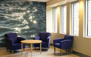 Sunbursts on Water Wall Mural - Blue Lake Decor