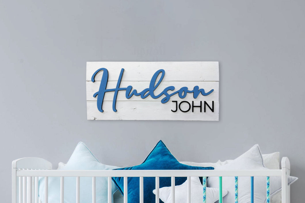 Nursery Sign / Baby Shower Sign / Crib Sign / Pallet Wood Sign / Custom Wood Sign / Name Sign / 3D Sign - Blue Lake Decor