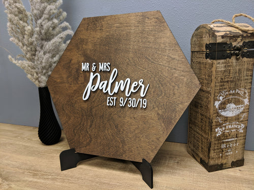 Hexagonal 3D Wedding Guestbook - Blue Lake Decor