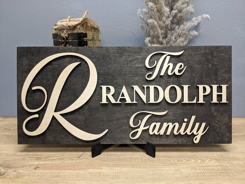 'Big Letter' Family Name Sign (Solid Panel) - Blue Lake Decor