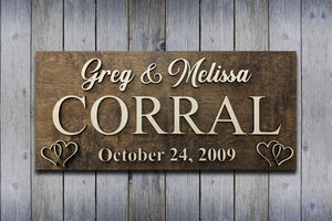 His & Hers Wedding Sign (Solid Panel) - Blue Lake Decor