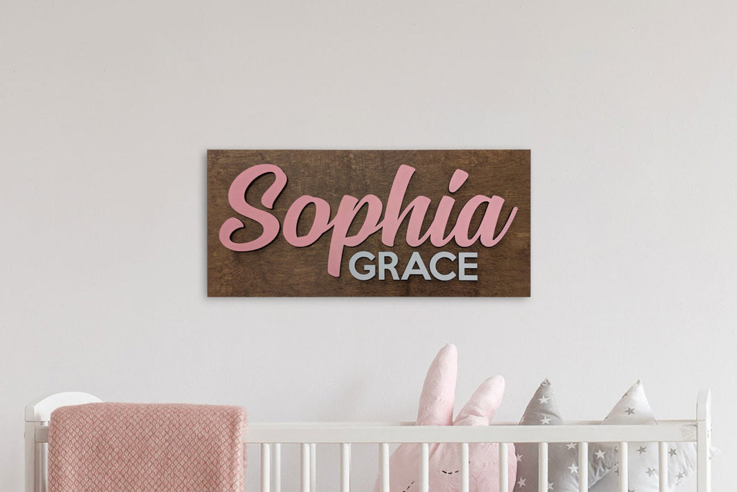 Nursery Sign / Baby Shower Sign / Crib Sign / Plywood Sign / Custom Wood Sign / Name Sign / 3D Sign - Blue Lake Decor