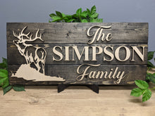Load image into Gallery viewer, 'Elk' Rustic Family Name Sign (Pallet Wood) - Blue Lake Decor