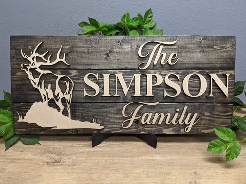 'Elk' Rustic Family Name Sign (Pallet Wood) - Blue Lake Decor