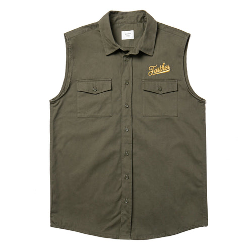 Embroidered Button Up Vest (Army Green)