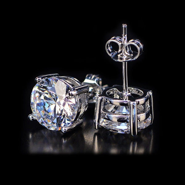 White Topaz Swarovski Crystal 6mm Stud Earring 14K White Gold Layered- 1.00 CT
