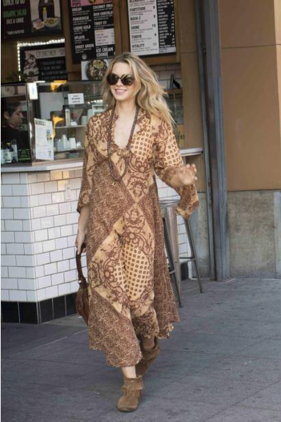 Audrey Printed Maxi Dress Brown