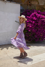 Nathalie Printed Long Dress With Long Sleeves Purple
