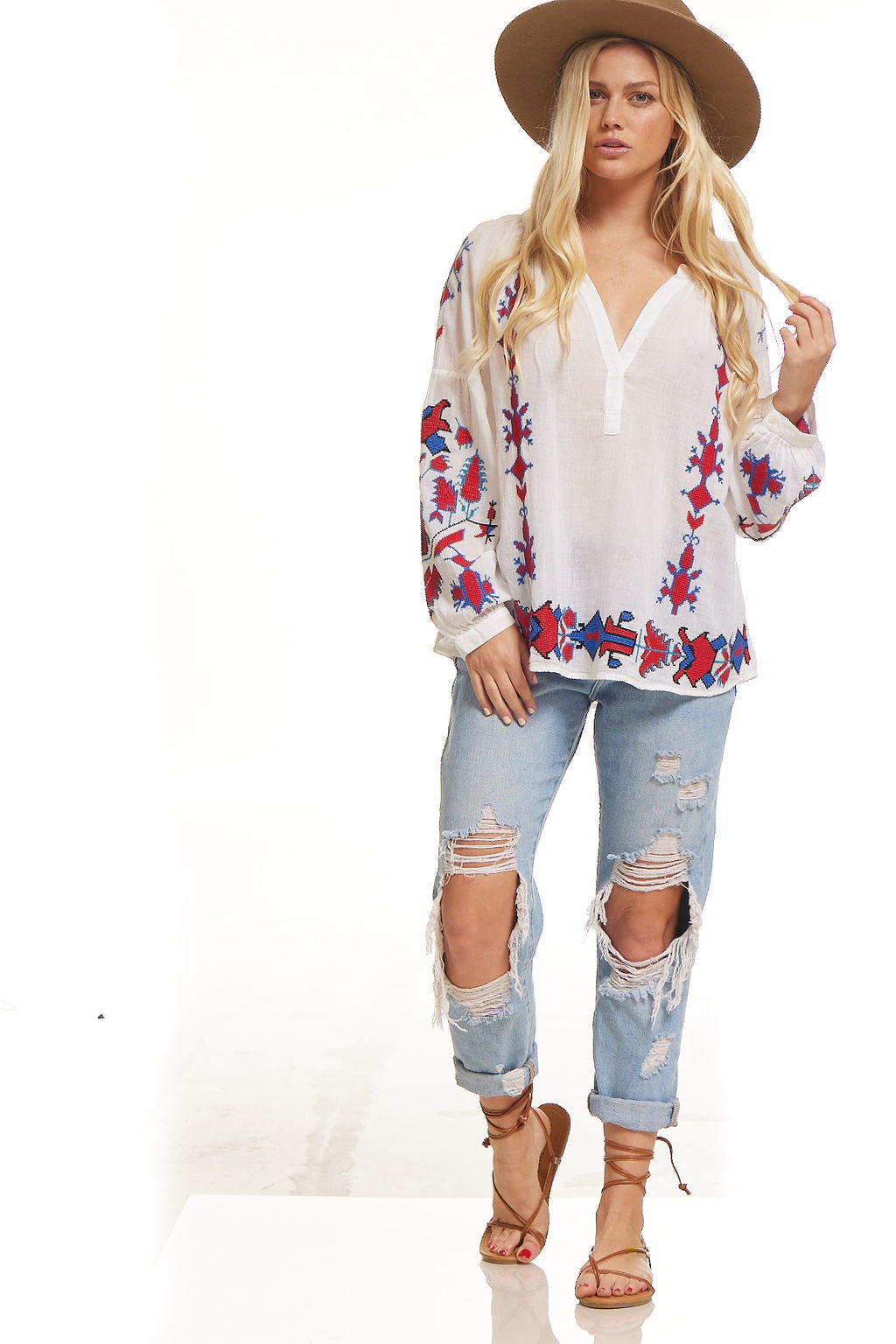 Lola Embroidered Tunic White