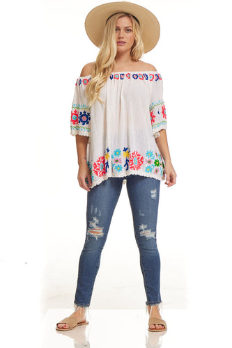 Eloise Embroidered Tunic Off Shoulder Natural